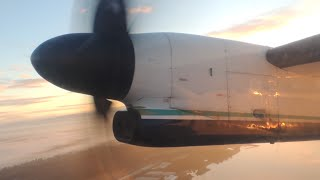 Alaska Airlines (Horizon Air) Bombardier DHC 8 Q400 [N410QX] dawn takeoff from PDX