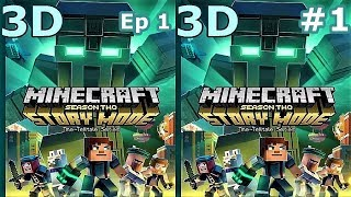 3D VR video TV Minecraft Story Mode S 2 Ep1 #1 Side by Side SBS