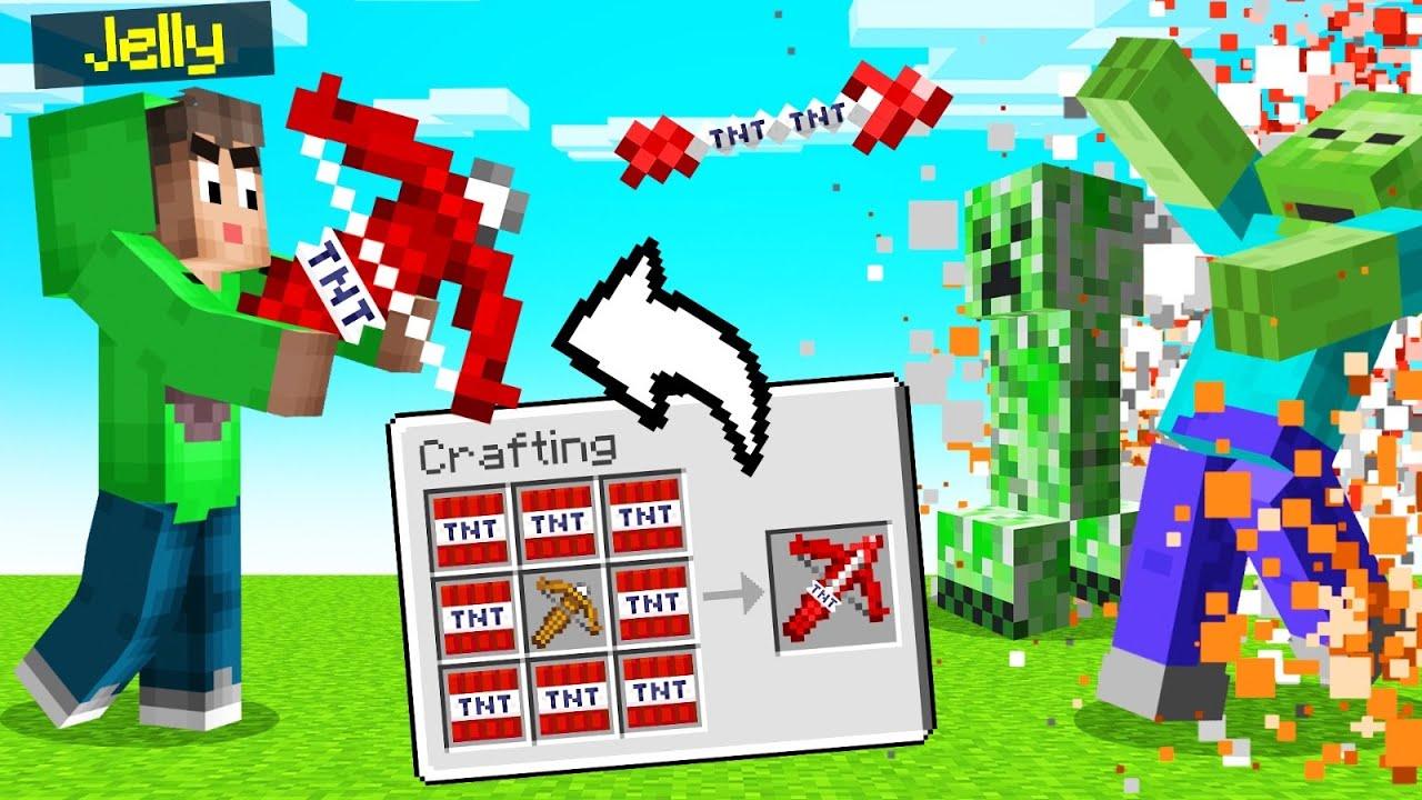 CROSSBOW + TNT ARROWS = OVERPOWRED! (Minecraft)