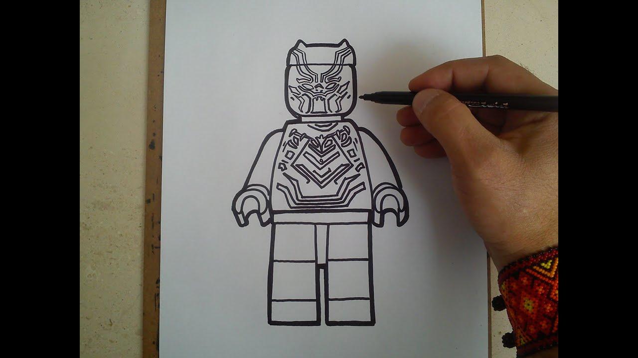 Como Dibujar A Pantera Negra Lego How To Draw A Black Panther
