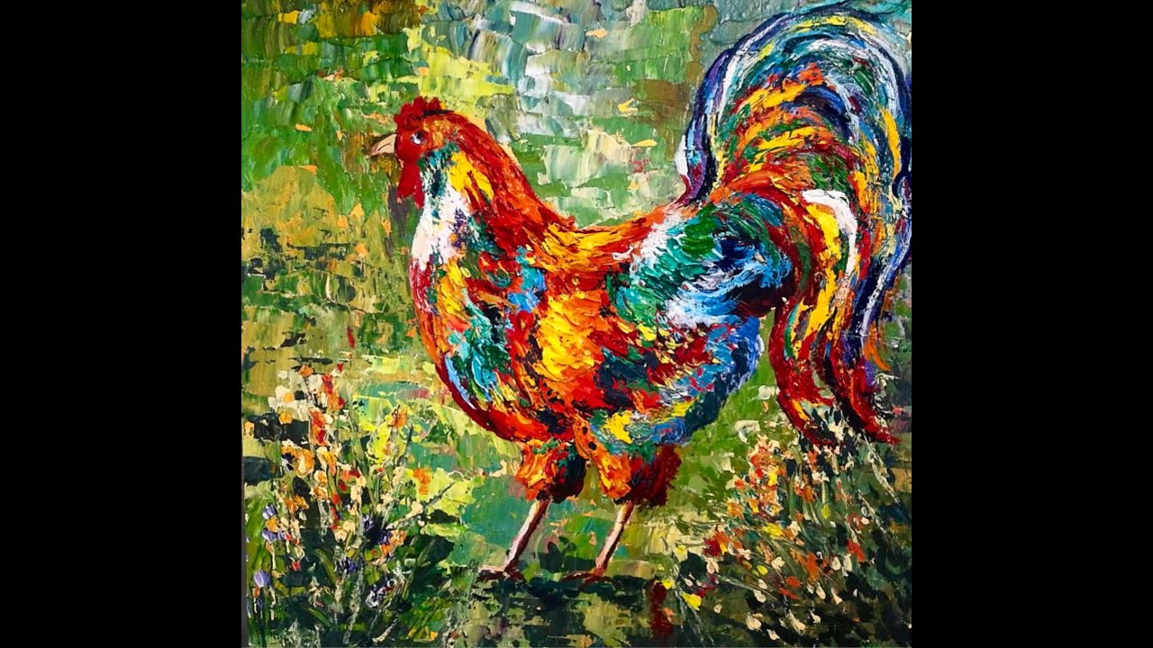 Palette knife rooster step by step pawgustart painting for How to paint with a palette knife with acrylics