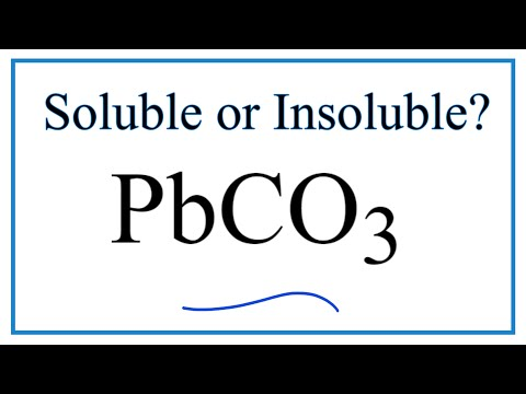 Is PbCO3 Soluble Or Insoluble In Water?