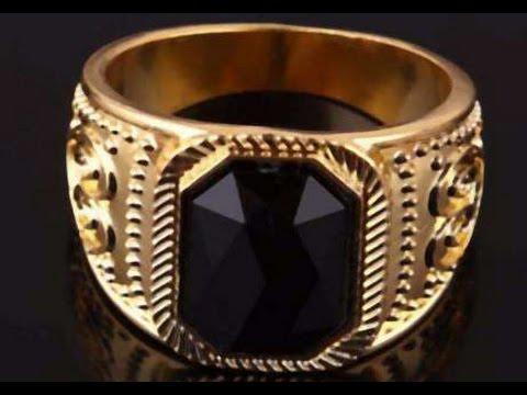 Золотой перстень с черным камнем из Китая.