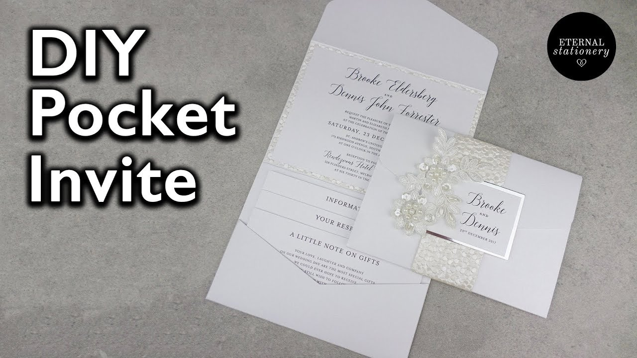 Elegant Pocketfold Invitation with belly band | DIY Wedding ...