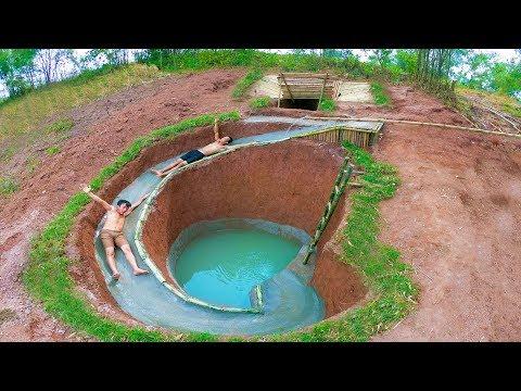 Build The Most Amazing Swimming Pool Water Slide Around Secret Underground House