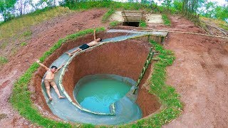 Build The Most Amazing Swimming Pool Water Slide Around Secret Underground House