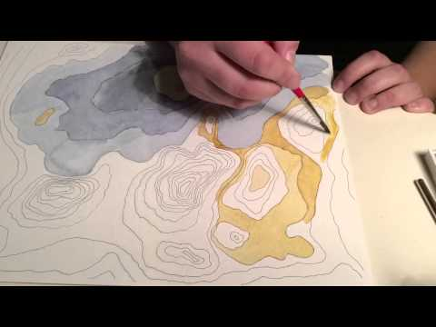 Watercolor In Process #3 - Architectural Speed Drawing of a Topographic Map