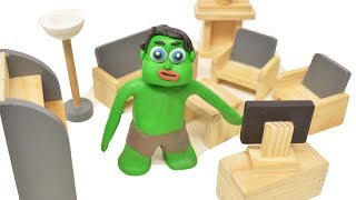 Green Baby in LEARNING HOUSE ROOM - Play Doh Stop Motion Cartoons For Kids #94