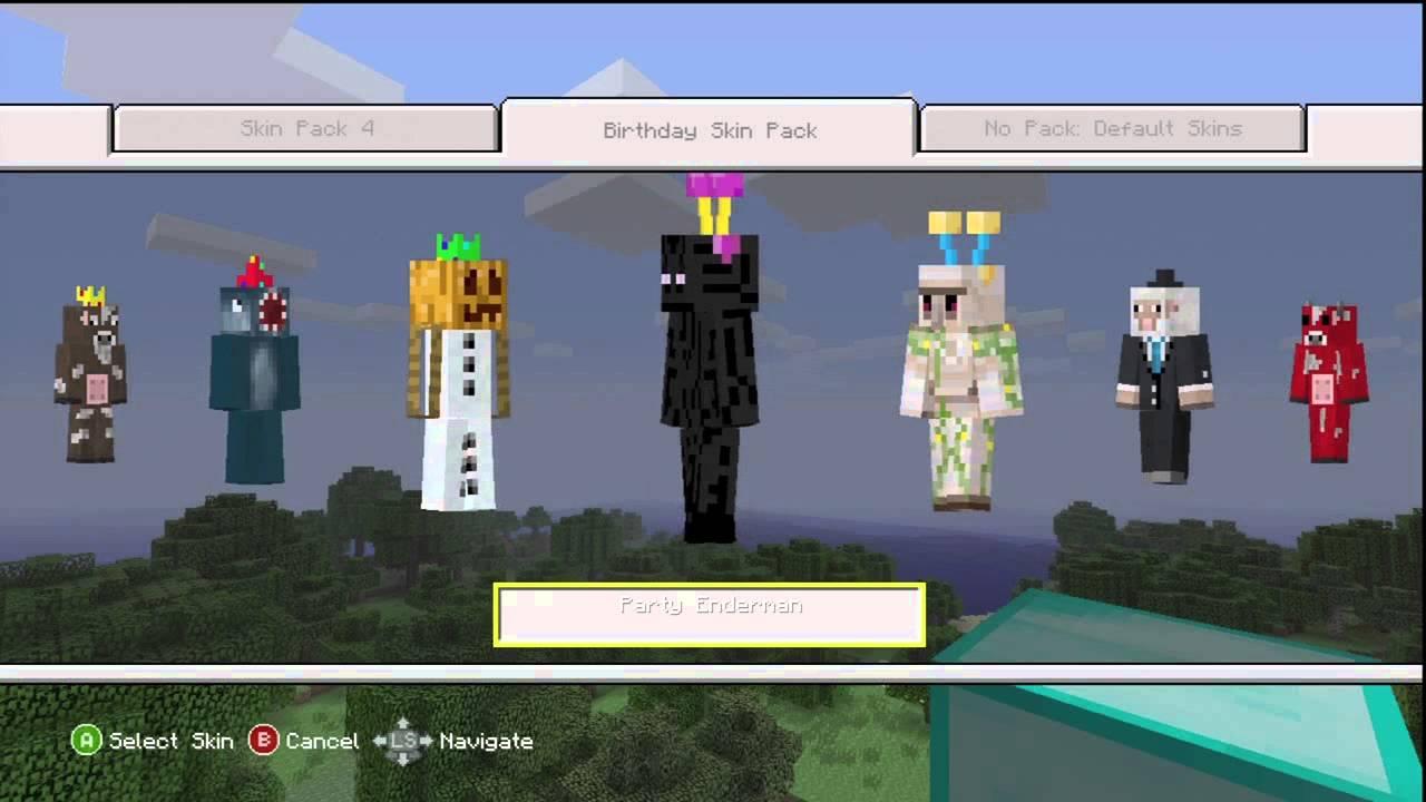 Minecraft Xbox 360 FREE Birthday Skins OVERVIEW - YouTube