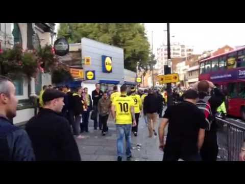 Dortmund fans on Seven Sisters Road