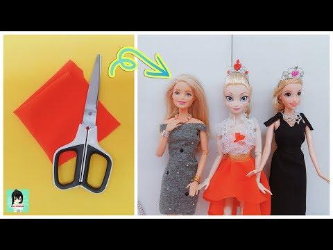 ✂️ DIY | No Sew, No Glue Doll Dress- How To Make Barbie Clothes | Ami Channel