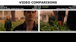 VIDEO COMPARISONS - JUSTICE LEAGUE - Official Heroes Trailer