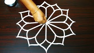 latest simple rangoli designs with 5 x 3 dots * special kolam with dots * beginners muggulu