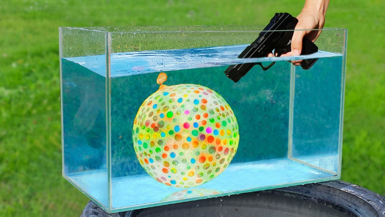 Experiment: Gun and Giant Balloon Under Water