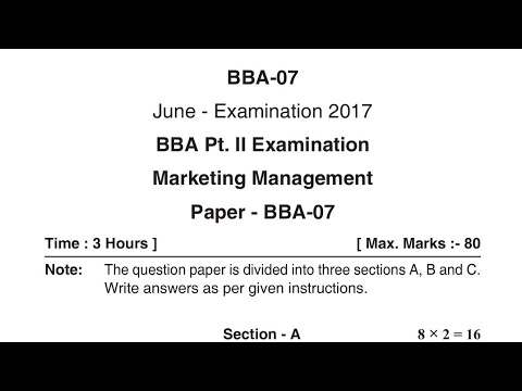 Marketing Management BBA 2nd Year Question Paper 2018