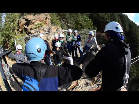 Guide Takes First Zip down Tower #1 | AVA Zipline Adventures Idaho Springs, CO
