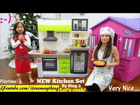 Food Cooking Pretend Playtime. Kitchen Playset Unboxing. Step 2 EURO Edge Kitchen Playset Toy