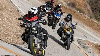 Super Naked Bike Shootout - FZ-10 vs. Tuono 1100 RR vs. Speed Triple R vs. 1190 SX - 4K