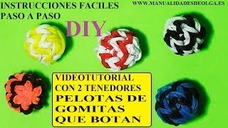Repeat youtube video COMO HACER PELOTAS 3D QUE BOTAN DE GOMITAS CON DOS TENEDORES. TUTORIAL DIY