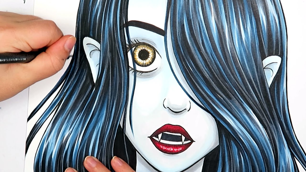 marker illustration vampire girl vanessa youtube