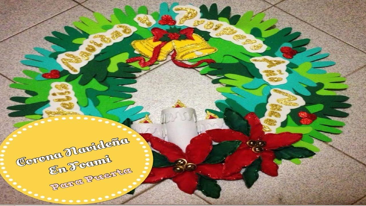 Corona navide a en foami adorno para la puerta youtube for Coronas de navidad hechas a mano