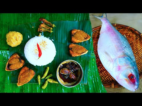 Hilsha Fish Fry By Grandmother | Puja Special Big Podmar Hilsha Collection And Cooking By Villfood