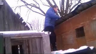 Залезли на крышу заброшенного гаража дразним сторожевую собаку