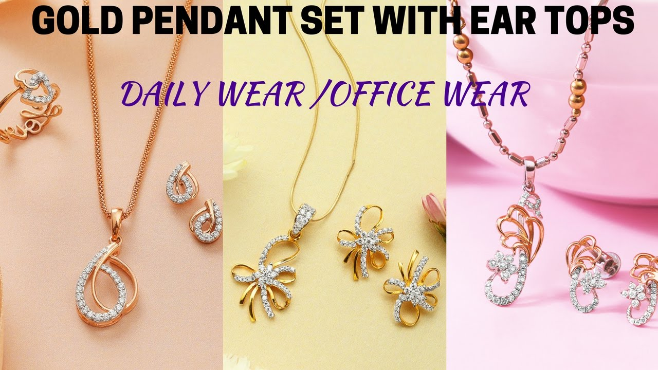 Light Weight Gold Pendant Sets With Ear Tops Daily Wear Office Wear