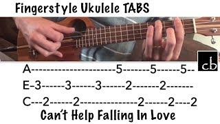 Can't Help Falling In Love FINGERSTYLE Ukulele Tutorial WITH TABS!