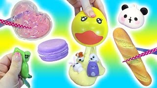 Cutting Open Squishy Toys! Pudding Slime? Homemade Stress Ball Ducky