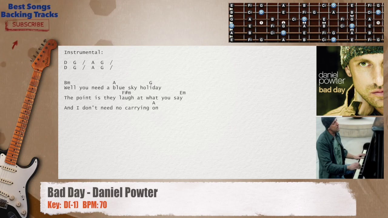 Bad Day Daniel Powter Guitar Backing Track With Chords And Lyrics