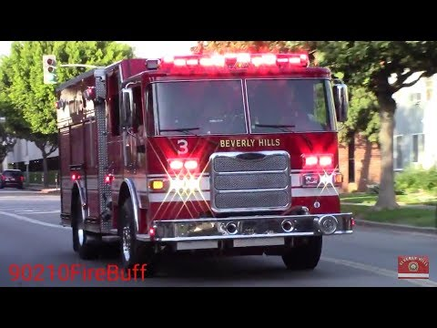 Beverly Hills Fire Dept. Engine 3 + Rescue 3 Responding
