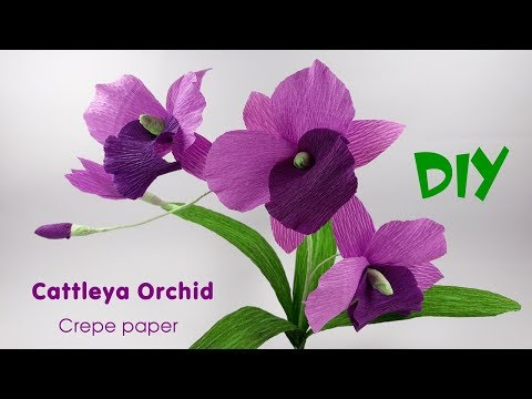 How to make Cattleya Orchid flowers from crepe paper | Crepe paper flower Tutorials