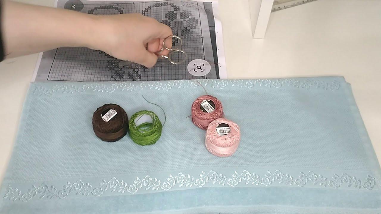 Muhteşem etamin şablonu havlu modeli / Etamin havlu modelleri  / kanaviçe havlu işleme / crochet