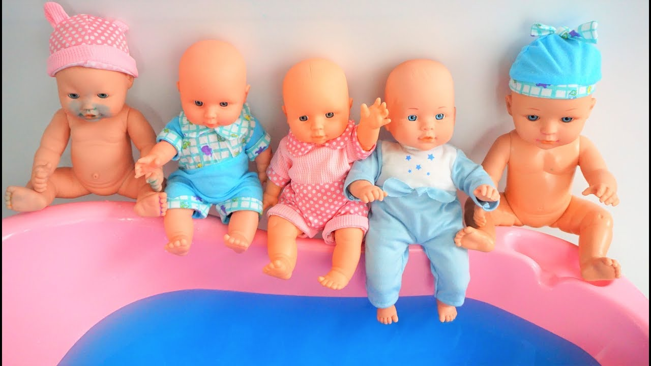 5 Little Baby Dolls Jumping On The Water Bed Baby Kids Nursery