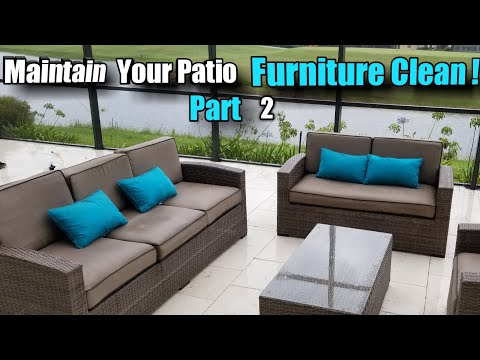 Part 2: Cleaning patio cushions sofas. Recovery product and rinse