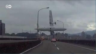 Шокирующее видео: крушение самолета на Тайване