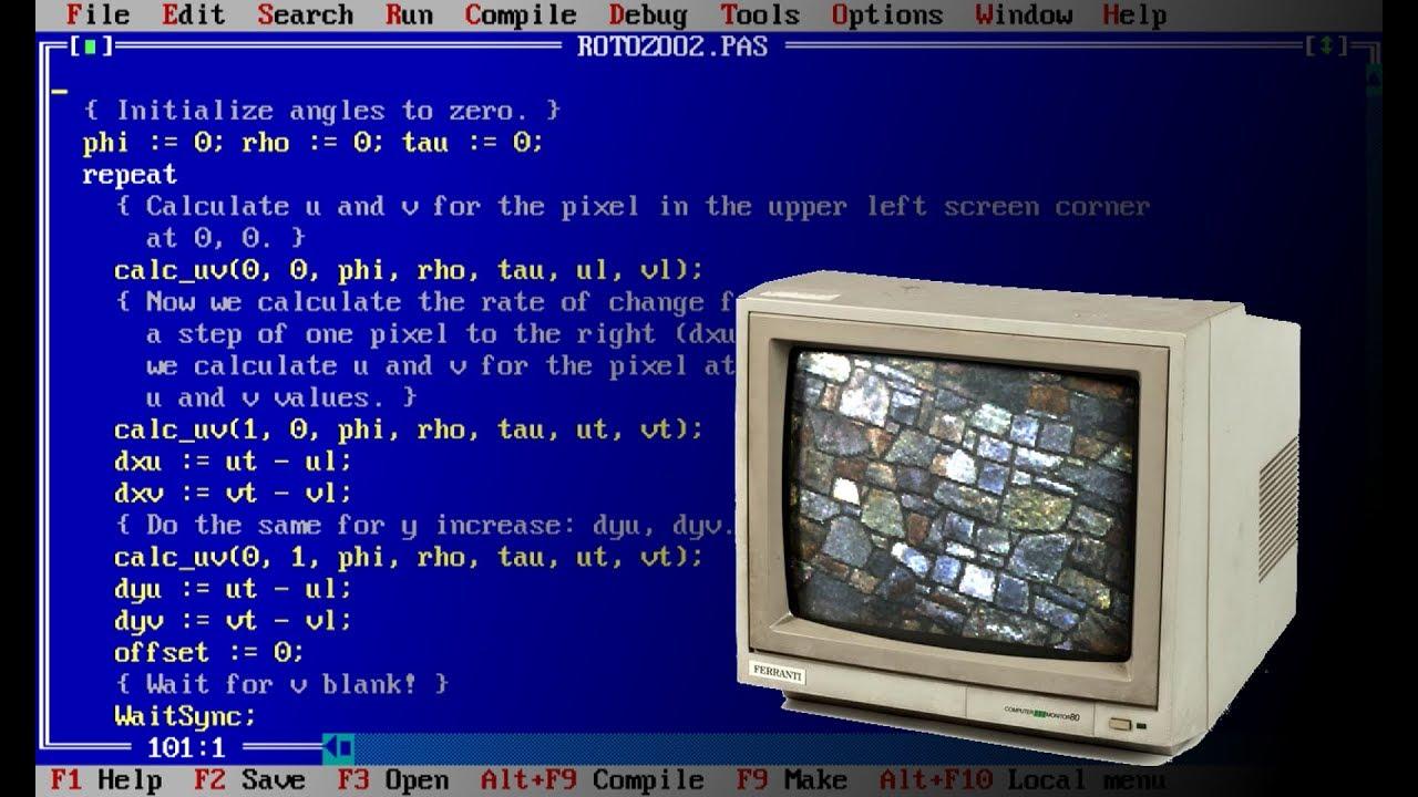 Old school VGA roto zoomer using Turbo Pascal / DOSBox