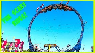 Scary+Fun Rides at the FAIR Amusement Park for Kids and Family FIRE BALL RIDE