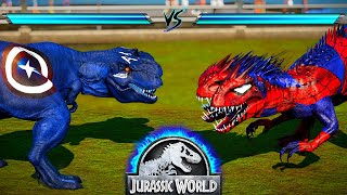 Three Heads Battle! Captain T-Rex Vs Spider I-Rex - Jurassic World Dinos Battle