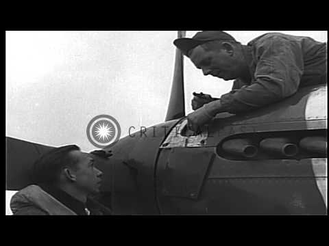 Pilots, of 334th Squadron,USAAF 4th Fighter Group, and their P-51 aircraft in Eng...HD Stock Footage