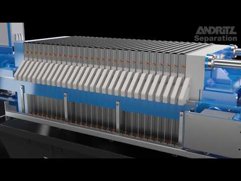 ANDRITZ SEPARATION filter press sidebar SP – air over oil (operating video)