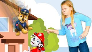 Paw Patrol Chase and Marshall play Play Hide n seek with  the Assistant  Chase and Marshall