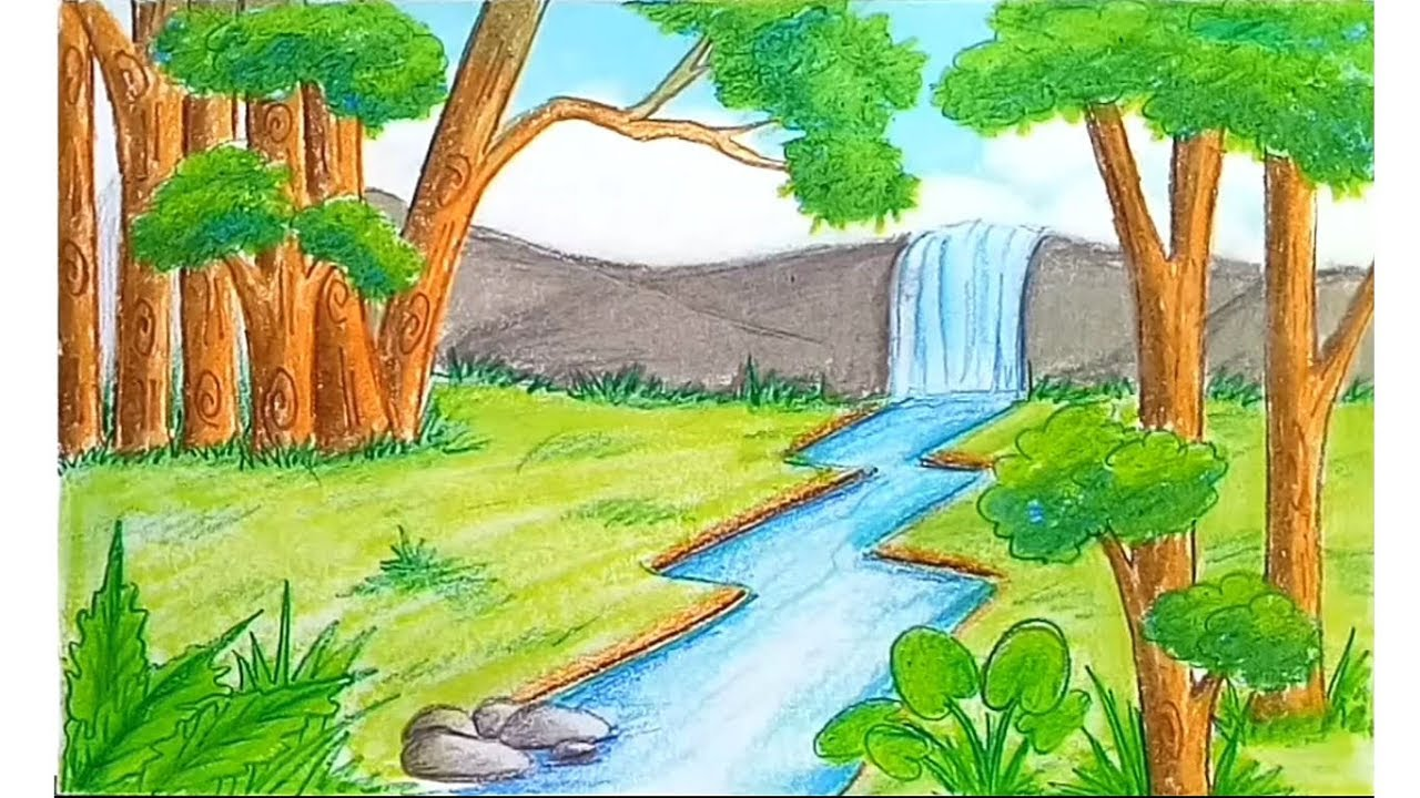It is a picture of Monster Water Fall Drawing