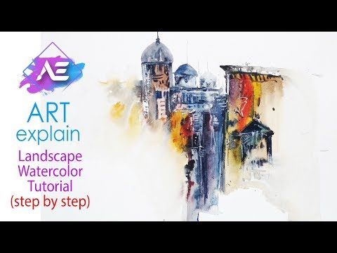 Cityscape Transparent Watercolor Painting | How to paint a watercolor landscape | Art Explain