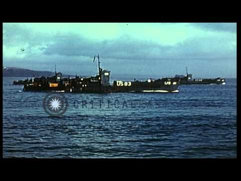 United States Navy Landing Crafts off the Northern France coast. HD Stock Footage