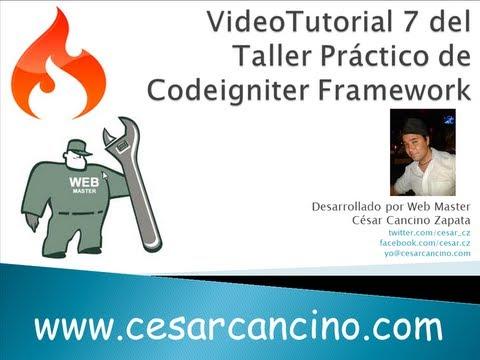 VideoTutorial 7 del Taller Práctico de Codeigniter Framework. Trabajando con clase Database y MySQL