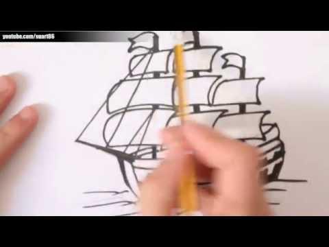 Como dibujar un barco paso a paso - YouTube