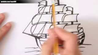 Como dibujar un barco paso a paso