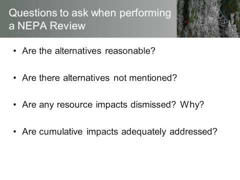 Reviewing a NEPA Document